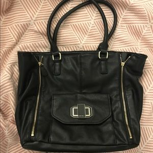 Black leather - expandable tote bag